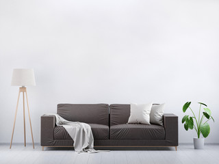 Modern vintage living room. Brown leather sofa on a grey wooden floor and light wall, 3D render
