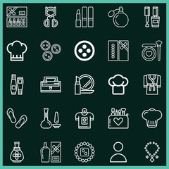 Set of 25 fashion outline icons