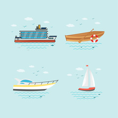 Collection of nautical vehicles: sail boat, ship, vessel, luxury yacht, speedboat