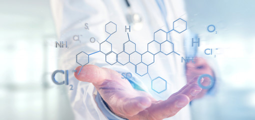 Doctor holding a 3d rendering molecule structure isolated on a background