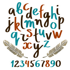 Hand drawn colorful alphabet, font, letters, numbers, feathers