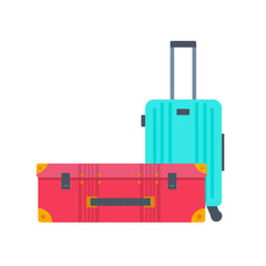 Different types of baggage, luggage, suitcase isolated on white background.