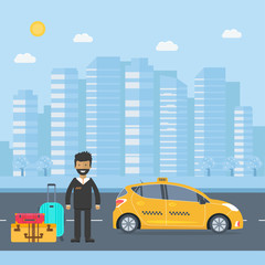 Machine yellow cab with driver and baggage  in the city
