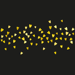 Heart frame background with gold glitter. Valentines day. Vector confetti. Hand drawn texture. Love theme for voucher, special business banner. Wedding and bridal template with heart frame.