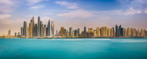 Panorama of Dubai Marina photographed from The Palm Jumeirah