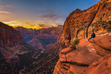 Tourist at the  Canyon Overlook in Zion National Park