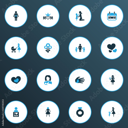 Mothers Day Icon Colored Design Concept Set Of 16 Such Elements As