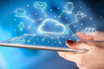Hand working with cloud technology system and office symbol concept