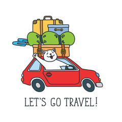 Let's go travel! Doodle vector illustration of funny cat driving a red car