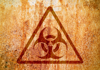 Biohazard sign on old rust grungy wall. Grunge biohazard symbol