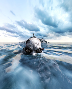 on the reef is the only place to survive,3d illustration of  a person on the reef in the sea far a way with monster in water,3d art for book cover,book illustration