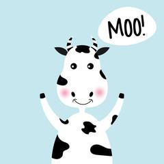 Cartoon cute cow girl and inscription Moo.