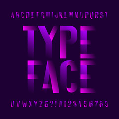 Abstract modern alphabet typeface. Type letters and numbers on dark background. Vector font for your design.