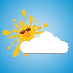 A cheerful sun in sunglasses peeps out from behind a cloud in the blue sky.