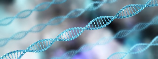 DNA, a beautiful chromosome on a blurred background, 3D rendering
