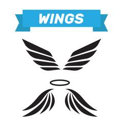 Eagle wings vector. Wings angel isolated. Bird wings cartoon art set