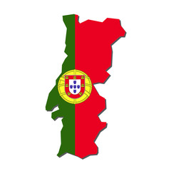 Portugal Map Flag,Portugal Map with Flag Vector