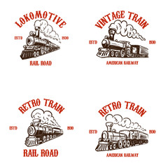 Set of emblem templates with hand drawn retro trains. Design elements for poster, card, t shirt, logo, label, badge.