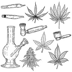 Set of hand drawn cannabis leaves, bong, smoking pipes. Design element for poster, card, banner.