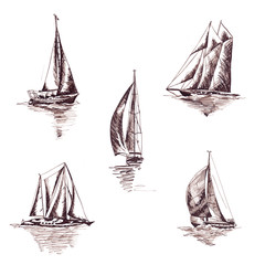 Sailing yachts and ships in graphic style made with brown ink