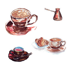 A large cup of coffee with a marshmallow and a croissant, a small coffee maker