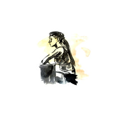 Girl in profile in front of the monitor, Watercolor sketch with black ink
