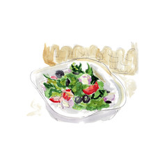 Fresh salad with cheese, olives and vegetables, watercolor sketch of appetizing food