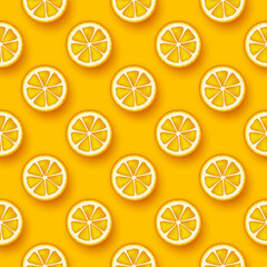 Orange fruit seamless pattern. Sliced pieces citrus. Vector illustration.