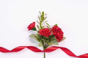 Isolated red carnation flowers and red ribbon
