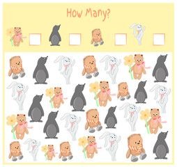 Counting game for Preschool Children. A mathematical Educational game. Count how many items and write the result. Wild and domestic animals. Nature.