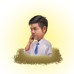 business man calling or using telephone digital painting picture from picture, funny cartoon holding smart phone
