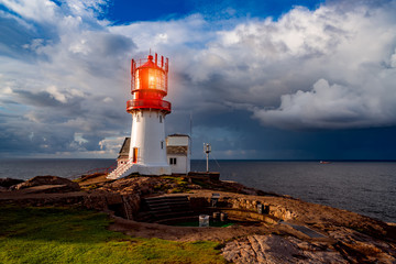 Fotobehang Vuurtoren Lindesnes Fyr Lighthouse, Norway