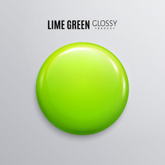 Blank lime green glossy badge or button.