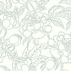 peony seamless vector floral pattern