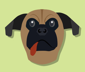 Logo of Dog face boxer brown color on green background.
