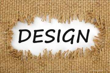 Design written in hole on the burlap