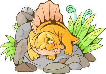 cartoon cute dimetrodon, funny illustration