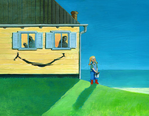 reality seen by child smiles in a divorced couple concept illustration