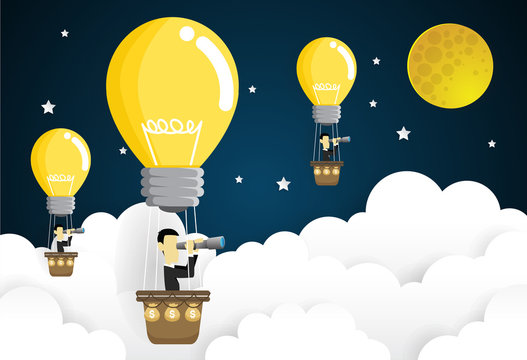 business man flying in the sky on hot air balloon Looking through spyglass. Idea concept. paper art style vector illustration.