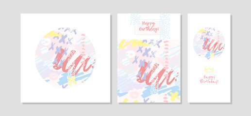 Hand drawn creative universal freehand greeting cards template. Abstract scribbles doodles beautiful colors. Birthday, wedding, party, social media banners template. Isolated vector cards template.