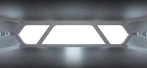 Spaceship futuristic grey blue interior window view