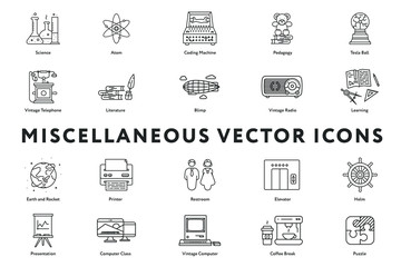 Set of 20 Miscellaneous Minimal Flat Line Icons. Science, Atom, Pedagogy, Vintage Telephone and Radio, Literature, Blimp, Learning, Printer, Restroom, Elevator, Helm, Presentation, Puzzle
