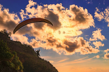 Paraglider flying in Bali Wall mural