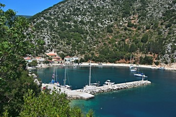 Greece, the island of Ithaki - a view of the harbor in Frikes