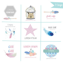 Cute pastel logo with bear,arrow,wild,feather,wreath,star and cage in boho style