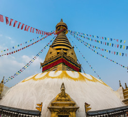 Stupa in the temple center of Swayambhunath on March 25, 2018 in Kathmandu, Nepal.