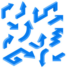 Blue arrows. Isometric set of 3d icons
