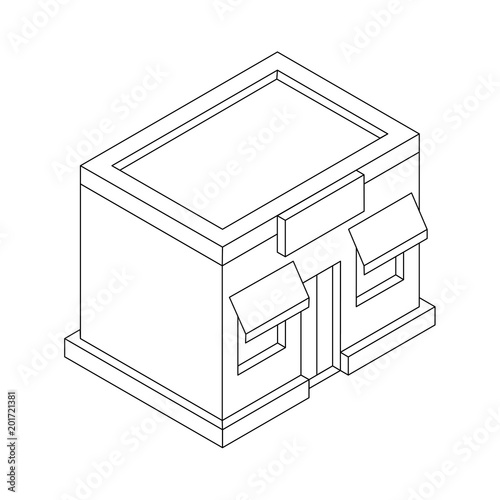 """""""Store Front. Outline Isometric Drawing"""" Stock Image And"""