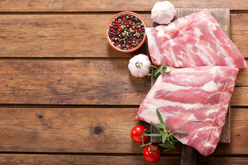 fresh pork ribs with ingredients for cooking