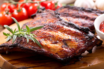 grilled pork ribs with rosemary